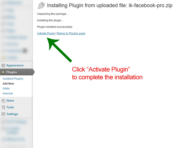 "Wordpress"" Plugin is finished uploading; now click Activate Plugin to complete the installation"