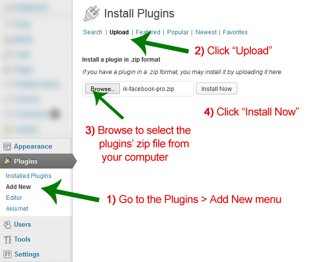 The Upload Tab of the Add New Plugins Screen In WordPress, Annotated With Instructions For Uploading A Plugin (as a zip file)