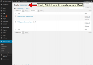"Next, click the ""Add Goal"" button to create a new Goal"
