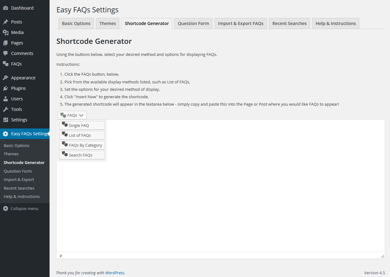 Easy FAQs Pro Screenshots | Gold Plugins