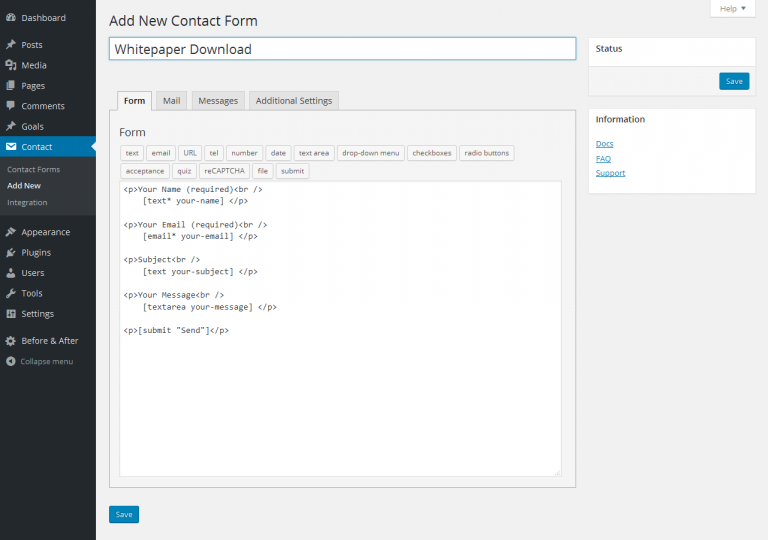 Adding a new contact form 7 form.