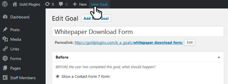 Editing a Goal and clicking the View Goal link to discover the permalink