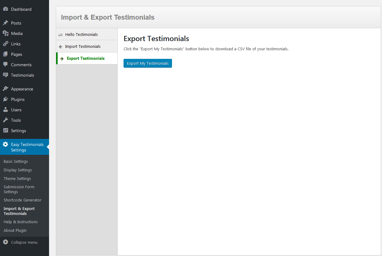 ExportTestimonials screen
