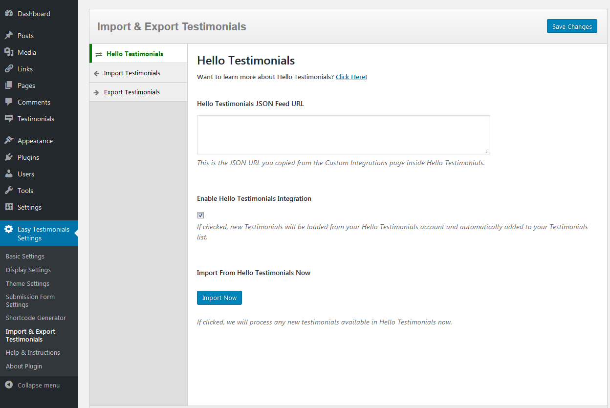 Hello Testimonials settings screen.