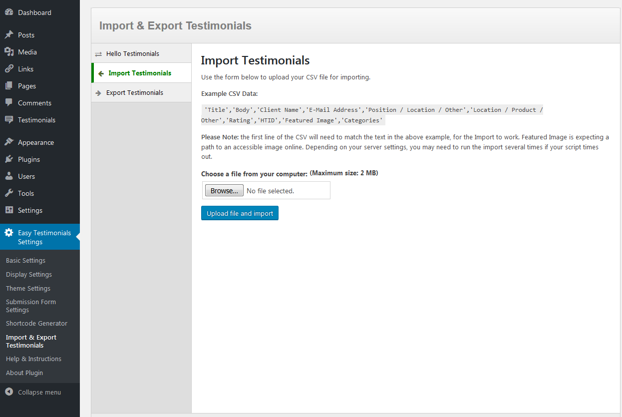 Screenshot of Easy Testimonials import page.