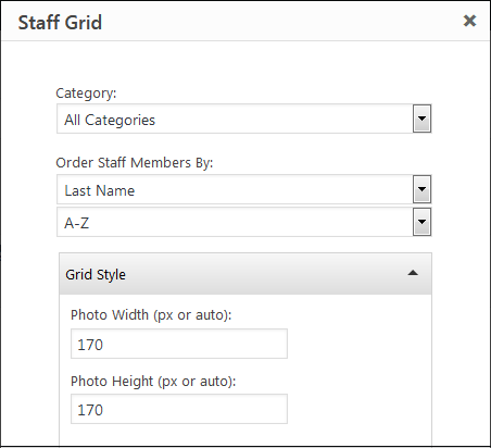 Partial screenshot of the Staff Grid widget