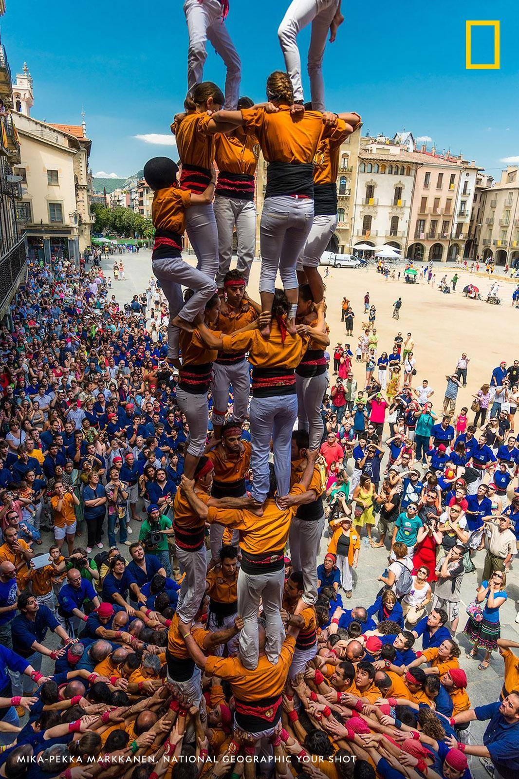"""For hundreds of years, Catalans have been mastering the building of castells, human castles or towers. And today it is more popular and safer than ever,"" writes photographer Mika-Pekka Markkanen. https://on.natgeo.com/2zRsUvD"