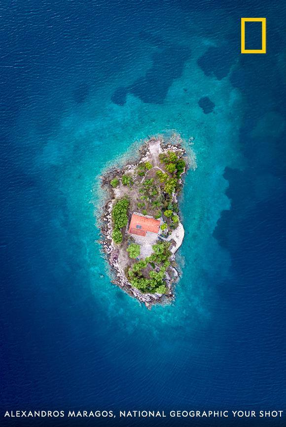 Saint Nicholas Island is uninhabited and located at the Gulf of Corinth in Central Greece. In this aerial view from photographer Alexandros Maragos, you can see the only structure on the island—a small temple dedicated to Saint Nicholas. https://on.natgeo.com/2DWueAA