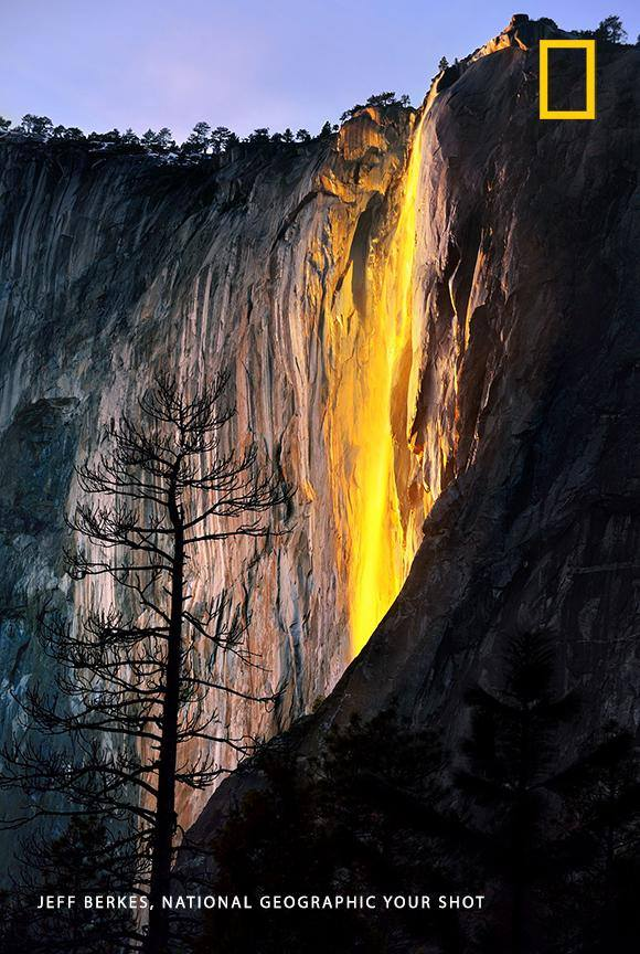 """Yosemite is a remarkable place to visit, especially in the winter,"" writes Your Shot photographer Jeff Berkes, who captured this spectacular image of the park's celebrated 'firefall.' https://on.natgeo.com/2GIQoY6"