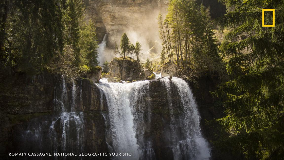 """""""We arrived to this wonder waterfall in an amazing show,"""" writes Your Shot photographer Romain Cassagne of the Saint-Même waterfall in the Chartreuse Regional Natural Park. """"During the month of April, the light was perfect to make this picture."""" https://on.natgeo.com/2U1dc7Q"""