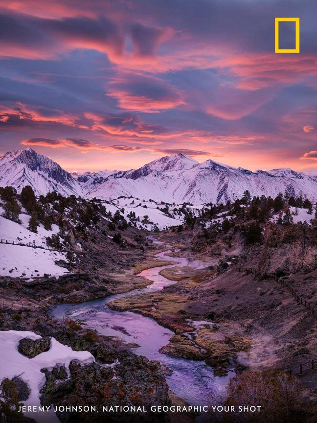 Your Shot photographer Jeremy Johnson documented this dreamy scene of Hot Creek near Mammoth Lakes, California. https://on.natgeo.com/2UAVwVU